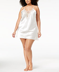 Flora by Flora Nikrooz Plus Size Stella Charmeuse Floral-Embroidered Chemise