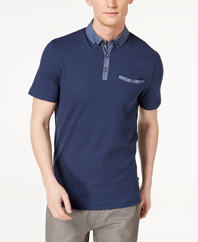 Calvin Klein Men's Mix-Media Textured Stripe Pocket Polo