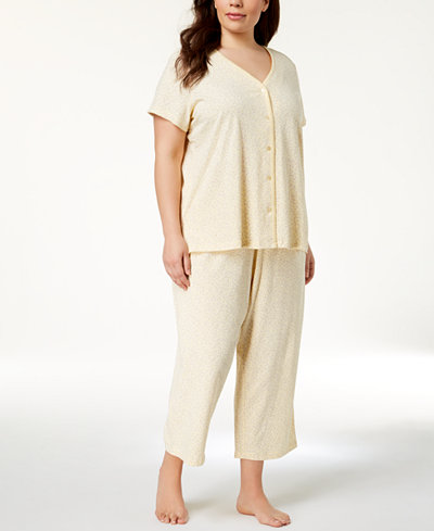 Charter Club Plus Size Cotton Picot-Trim Pajama Set, Created for Macy's