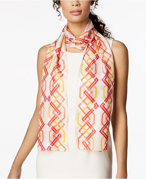 Echo Geo Lattice Silk Scarf