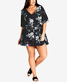 City Chic Trendy Plus Size Cutout-Back Romper