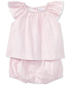 Ralph Lauren Flutter-Sleeve Cotton Top, Baby Girls