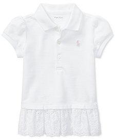 Ralph Lauren Embroidered-Hem Cotton Polo, Baby Girls
