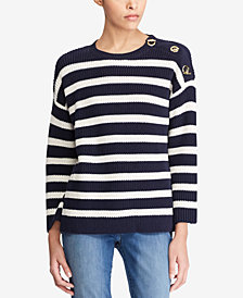 Lauren Ralph Lauren Relaxed Fit Striped Cotton Sweater