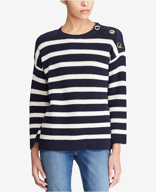 0c816efcf9 Lauren Ralph Lauren Relaxed Fit Striped Cotton Sweater - Sweaters ...