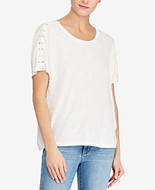 Lauren Ralph Lauren Petite Lace-Shoulder T-Shirt