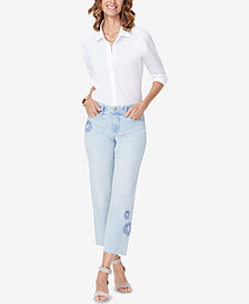 NYDJ Jenna Embroidered Ankle Jeans
