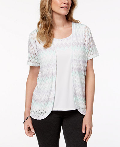 Alfred Dunner Petite Roman Holiday Layered-Look Textured-Lace Top