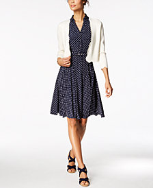 Charter Club Scalloped Cardigan & Printed Shirtdress, Created for Macy's