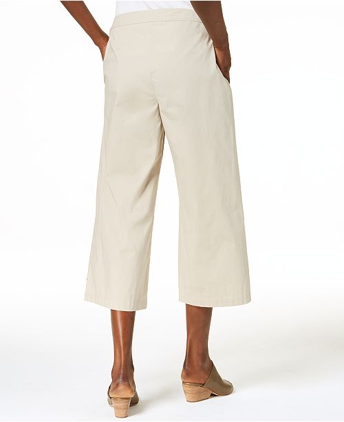 ad2e4c7a8b ... Eileen Fisher Cropped Organic Cotton Wide-Leg Pants