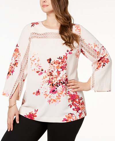 Alfani Plus Size Crochet-Inset Tunic, Created for Macy's