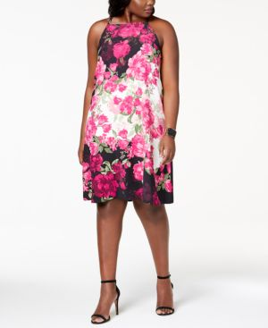 Image of Alfani Plus Size Printed Halter-Neck Dress, Created for Macy's