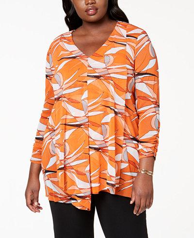 Alfani Plus Size Draped V-Neck Top, Created for Macy's