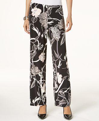 Alfani Petite Printed Pull-On Pants, Created for Macy's