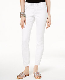I.N.C. Petite Embellished Skinny Ankle Jeans, Created for Macy's