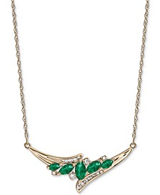 "Emerald (3/4 ct. t.w.) & Diamond (1/6 ct. t.w.) 17"" Statement Necklace in 14k Gold (Also Available in Ruby)"