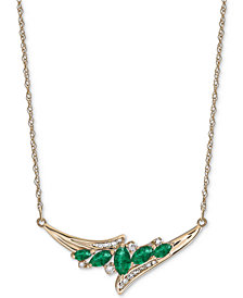 "Emerald (3/4 ct. t.w.) & Diamond (1/6 ct. t.w.) 17"" Statement Necklace in 14k Gold"
