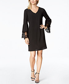 MSK Lace-Trim Bell-Sleeve Shift Dress