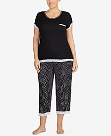 Layla Plus Size Ruffle-Trim Pajama Top & Capri Pants Sleep Separates