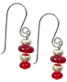 Jody Coyote Czech Glass Bead Drop Earrings in Sterling Silver & Silver-Plate