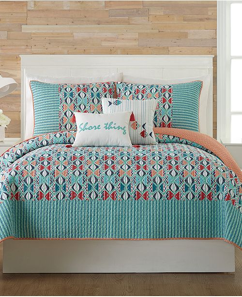 Mix And Match The Go Fish Quilt Collection From Vera Bradley Featuring A Variety Of Quilts Shams Decorative Pillows In Calming Blue Ground Atop