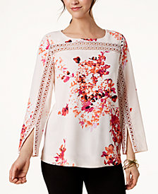 Alfani Petite Floral-Print Crochet-Trim Top, Created for Macy's
