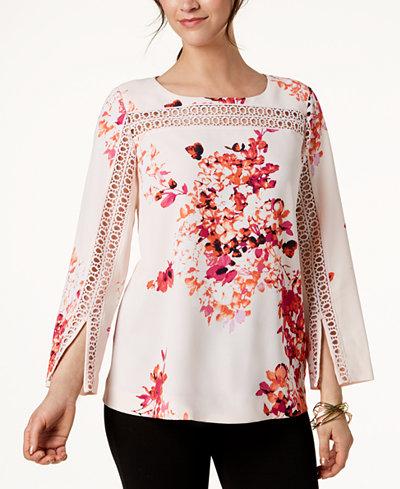Alfani Printed Split-Sleeve Top, Created for Macy's