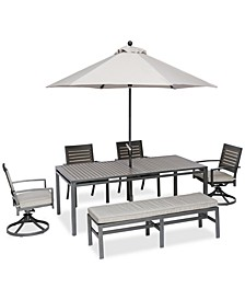 "Marlough II Aluminum Outdoor 6-Pc. Dining Set (84"" x 42"" Dining Table, 2 Dining Chairs, 2 Swivel Rockers and 1 Bench) with Sunbrella® Cushions, Created for Macy's"