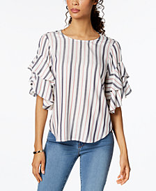 Karen Kane Striped Ruffle-Sleeve Top, Created for Macy's