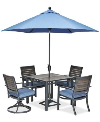 """Harlough II 5-Pc. Outdoor Dining Set (36"""" Square Dining Table, 2 Dining Chairs and 2 Swivel Rockers) with Sunbrella® Cushions, Created for Macy's"""
