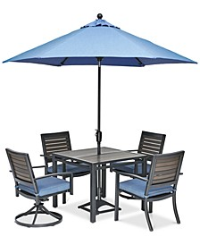 "Harlough II 5-Pc. Outdoor Dining Set (36"" Square Dining Table, 2 Dining Chairs and 2 Swivel Rockers) with Sunbrella® Cushions, Created for Macy's"