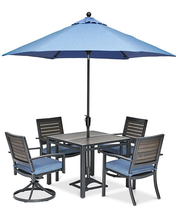 """Furniture Harlough II 5-Pc. Outdoor Dining Set (36"""" Square Dining Table, 2 Dining Chairs and 2 Swivel Rockers) with Sunbrella® Cushions, Created for Macy's"""