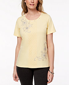 Alfred Dunner Petite Charleston Embroidered Lace-Front Top