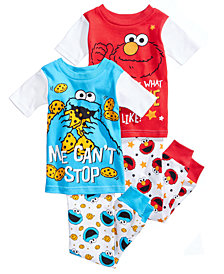 Sesame Street 4-Pc. Cotton Pajama Set, Toddler Boys
