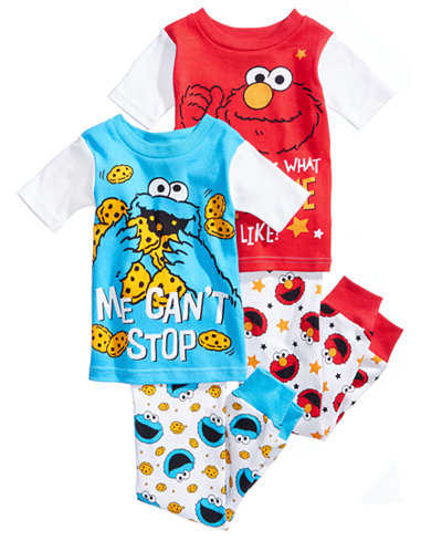 Sesame Street 4-Pc. Cotton Pajama Set, Toddler Boys