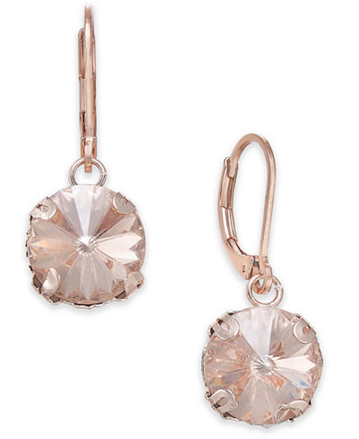 Anne Klein Rose Gold-Tone Colored Stone Drop Earrings