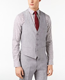 Bar III Men's Slim-Fit Light Gray Chambray Linen Suit Vest, Created for Macy's