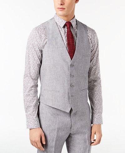 Bar III Men's Slim-Fit Light Gray Chambray Linen Suit Vest, Created for Macy's