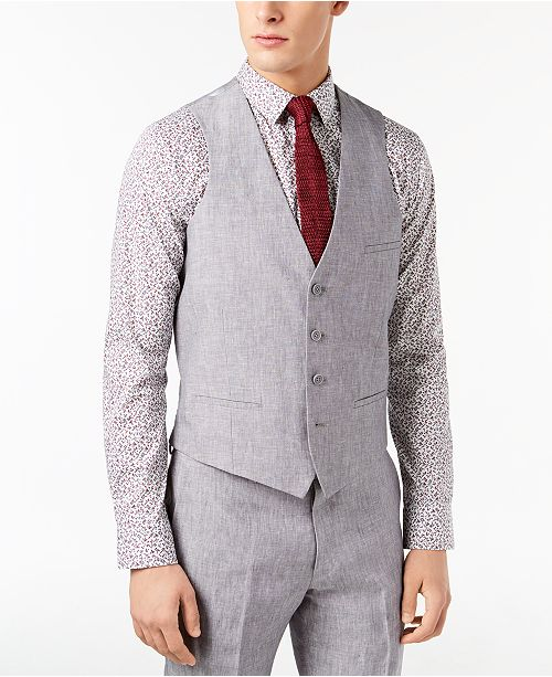 Men S Slim Fit Light Gray Chambray Linen Suit Vest Created For Macy
