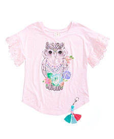 Belle Du Jour Owl-Print Top, Big Girls