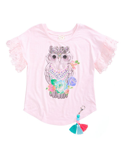 Belle Du Jour Owl-Print Top, Big Girls