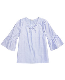 Monteau Striped Bell-Sleeve Lace-Up Top, Big Girls