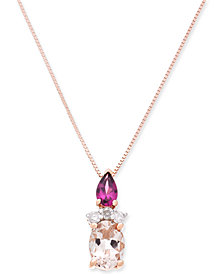 "Multi-Gemstone (1-1/4 ct. t.w.) & Diamond Accent 18"" Pendant Necklace in 14k Rose Gold"