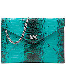 MICHAEL Michael Kors Barbara Medium Snakeskin Envelope Clutch