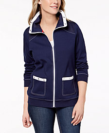 Alfred Dunner Petite Sailboat Topstitched Jacket