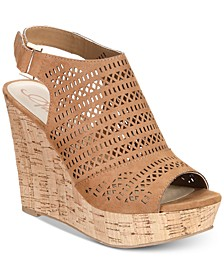 Charlize Perforated Platform Wedge Sandals, Created for Macy's