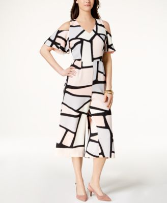 Alfani Petite Printed Cold-Shoulder Jumpsuit