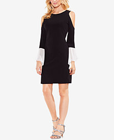 Vince Camuto Cold-Shoulder Contrast-Sleeve Sheath Dress