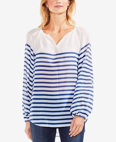 Vince Camuto Cotton Ladder-Striped Peasant Top