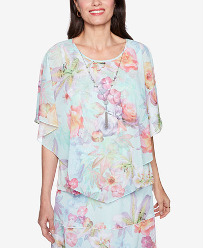 Alfred Dunner Roman Holiday Floral Overlay Necklace Top